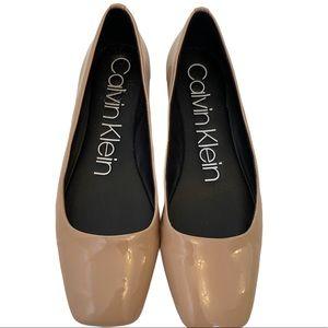 CAlVIN KLEIN Faux Patent Leather Square Toe Flats